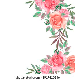 Watercolor hand painted banner with flowers for wedding invitations, anniversary, birthday.