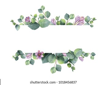 Watercolor hand painted banner with green eucalyptus leaves, purple flowers and branches. Spring or summer flowers for invitation, wedding or greeting cards.