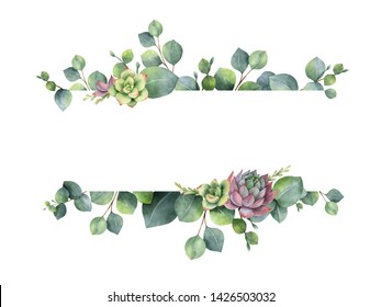 Watercolor hand painted banner with green eucalyptus leaves, flowers succulents and branches. Spring or summer flowers for invitation, wedding or greeting cards.