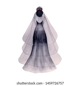 Watercolor hand painted black bride  isolated on white background. Halloween witch female illustration.