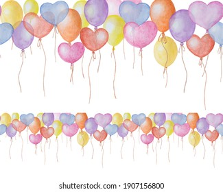 Watercolor hand painted border with air balloons. Isolated on white background for fabric, wrapping paper, scrapbooking, textile, etc.