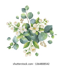 Watercolor hand painted bouquet with green eucalyptus leaves and flowers. Healing Herbs for cards, wedding invitation, posters, save the date or greeting design isolated on white background.