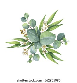 Watercolor hand painted bouquet with green eucalyptus leaves and branches. Healing Herbs for cards, wedding invitation, posters, save the date or greeting design isolated on white background.