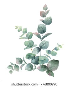 Watercolor hand painted bouquet with green eucalyptus leaves and branches. Spring or summer flowers for invitation, wedding or greeting cards.