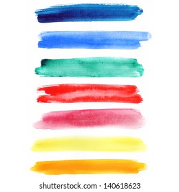 Watercolor hand painted brush strokes, Rainbow banners. Isolated on white background.