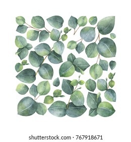 Watercolor hand painted card with green eucalyptus leaves and branches. Spring or summer flowers for invitation, wedding or greeting cards.