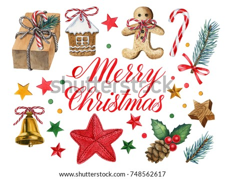 watercolor hand painted christmas decorations can be used as background for web pages invitations