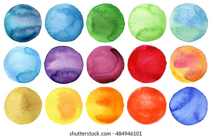 Watercolor hand painted circles collection