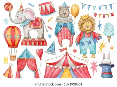 Watercolor hand painted Circus set. Illustration isolated on white background. Elephant, bear, lion, confetti, marquee, hat, awning, air ballon. Use it for postcards, invitations, and scrapbooking.