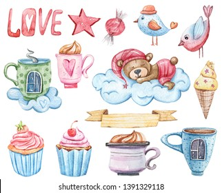 Watercolor hand painted clip art: dreaming bear on a cloud, star, cup of tea, cupcakes, sweet, ice cream, birds. Cartoon illustration on white background