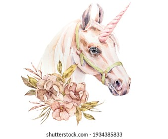 Watercolor hand painted colorful Unicorn with floral corner border on white background. Hand drawn animal floral boho illustration for wedding, anniversary, birthday, etc. invitations.