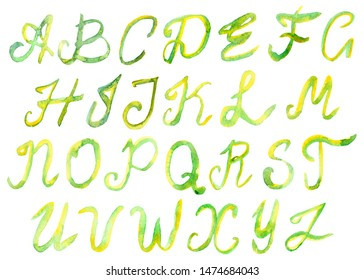 Watercolor hand painted colorful yellow and green gradient alphabet letters isolated on the white background for graphic design and invitations