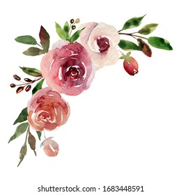 Watercolor hand painted composition with roses, leaves and berries. Boho style. Burgundy, pink and white flowers. Best for wedding invitation cards, party supplies, stickiers, prints, fabric, ceramics