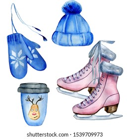Watercolor hand painted cozy winter set including blue knitted hat and mittens, cup of coffee to go designed with funny Christmas deer, pink ice skates. Isolated elements on white background.