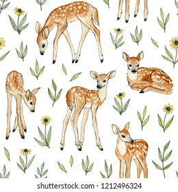 watercolor hand painted cute deer with wild flowers. seamless pattern on a white backdrop.