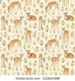 watercolor hand painted cute deer with wild flowers. seamless pattern on a beige backdrop.