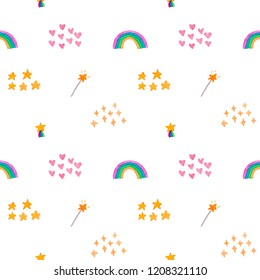 Watercolor hand painted decorative textured spots, hearts, stars,rainbow. Bright modern style abstract collection. Seamless pattern isolated on white background for children's,  baby design, textile.