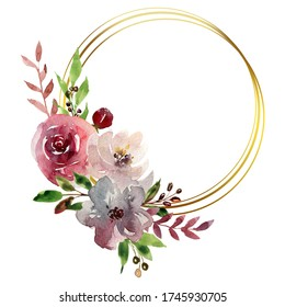 Watercolor hand painted digital clipart frames with roses, leaves, berries and golden geometric shapes. Bohemian style. Burgundy, pink and white flowers. Best for wedding invitation cards