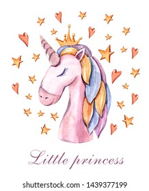 Watercolor hand painted dreaming unicorn. Little princess illustration on white background. Lovely horse print