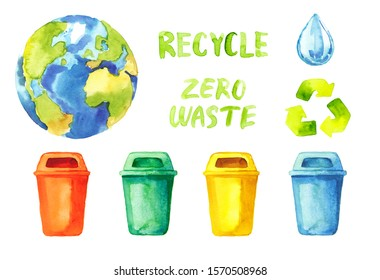 Watercolor hand painted ecology recycling waste icons and lettering set isolated on white background - trash bins, water drop, Earth planet