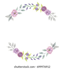 Watercolor Hand Painted Floral Arch Wreath