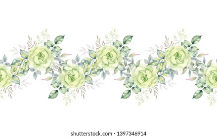 Watercolor hand painted floral border with tropical green leaves and flowers.Perfect for wedding invitation,greeting card etc.