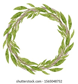 watercolor hand painted floral circle frame wreath with green leaf decoration, greenery arrangement for card ornament