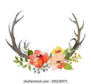 Watercolor hand painted floral composition with deer horns, isolated in white.
