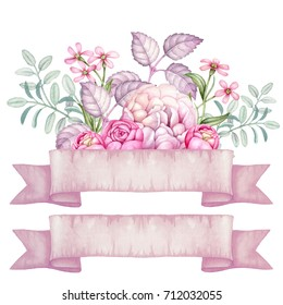Watercolor hand painted flowers. Isolated flowers with ribbon. Pink roses and peony. Ribbon.