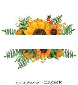 Watercolor hand painted frame with sunflowers,rosehip berries,leaves,branches,fern leaves. Perfect for greeting, wedding cards and baby announcement cards,invitations,lettering and orher.