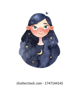 Watercolor hand painted girl and star. Illustration isolated on white background. Design for logo, baby textile, print, nursery decor, children decoration, kids room. Positive clipart printing fabric.