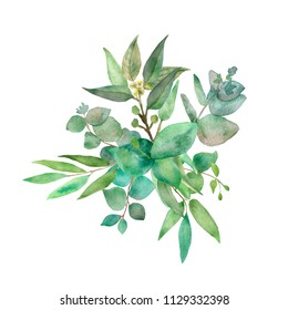 Watercolor hand painted green floral banner with eucalyptus silver dollar isolated on white background. Healing herbs for cards, wedding invitations, posters, save the date or design of greetings.