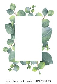 Watercolor hand painted green floral card with silver dollar eucalyptus leaves and branches isolated on white background. Healing Herbs for cards, wedding invitation, save the date or greeting design.