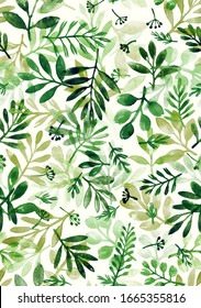 watercolor hand painted green leaves and branches. seamless pattern on a light background.