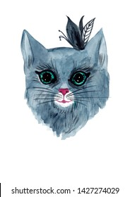 Watercolor hand painted grey cat illustration isolated on white for your  art and design.Is good for home decoration,book illustration,poster,prints,stickers,elements of design and more ideas.