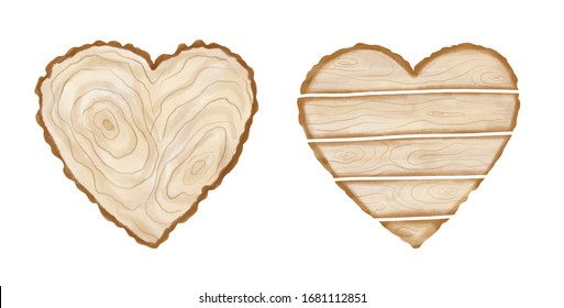 Watercolor hand painted heart wood slices and plank. Realistic tree rings. Painted wooden texture in eco natural rustic style perfect for card making, wedding invitations and blog decor