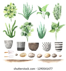 Watercolor hand painted house green plants and flower pots. Set of floral elemnts isolated on white. Decorative greenery collection perfect for print, poster, card making and scrapbooking design
