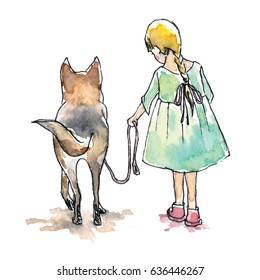 Watercolor hand painted illustration of girl with yellow hair in green dress with big dog on white background. Sketch style