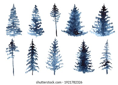Watercolor hand painted illustration of pines in blue colors. winter design, cold winter, snow