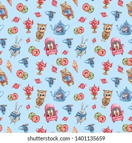 Watercolor hand painted illustration:cartoon owl, rabbit, hedgehog, donuts, ice cream,tea pot an cup of tea. Seamless pattern on blue background