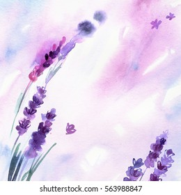 Watercolor hand painted lavender flowers with watercolor splashes. Invitation. Wedding card. Birthday card.