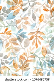 watercolor hand painted leaves and branches. seamless pattern on a white background