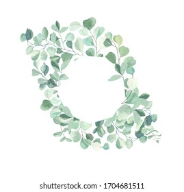 Watercolor hand painted leaves frame.Watercolor floral illustration with branches -  for wedding invite, stationary, greetings, wallpapers, background.