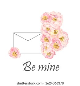 Watercolor hand painted nature floral grafic composition with pink apple blossom flower and contour envelope on the white background with be mine text for romantic letters and cards