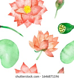 Watercolor hand painted nature floral water plants seamless pattern with peach color blossom lotus flowers with yellow center, buds and green leaves on branches isolated on the white background