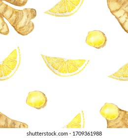 Watercolor hand painted nature healthy seamless pattern with yellow citrus lemon fruit, brown ginger root and slices isolated on the white background, trendy print for design