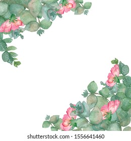 Watercolor hand painted nature romantic composition corner bouquet with green eucalyptus leaves and branches and pink blossom flowers on the white background for invitation and greeting cards