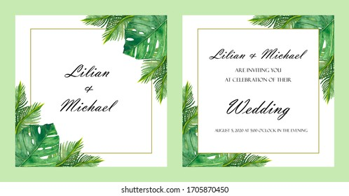 Watercolor hand painted nature tropical wedding two frames set with green palm and fern leaves, border line and names on the white background for invitation cards with the space for text