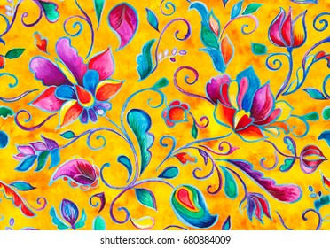 Watercolor hand painted oriental floral seamless pattern. Colorful orange yellow whimsical flowers, leaves, brunches, paisley illustration. Traditional arabic drawn ornament for ceramic tile design.