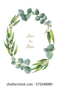Watercolor hand painted oval wreath with green eucalyptus leaves and branches. Healing Herbs for cards, wedding invitation, save the date or greeting design. Spring  flowers with space for your text.
